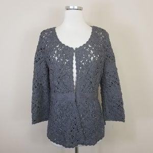 MIILLA Floral Crochet Knit Cardigan Gray S